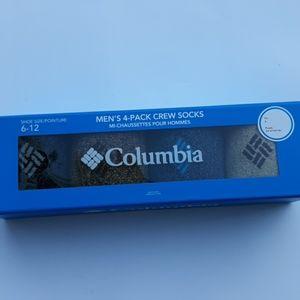 Columbia Men's 4 Pack Crew Socks Sz 6-12 Assorted